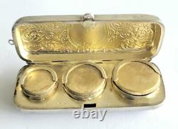 Antique Victorian Hollis & Newman Sterling Silver Ornate Triple Coin Holder
