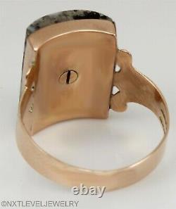 Antique Victorian RARE Natural Silver in Quartz 14k Solid Rose Gold Men's Ring