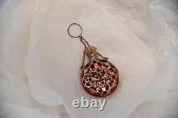 Antique Victorian Red Glass And Gilt Caged Scent Perfume Chatelaine Bottle C1890