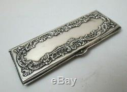 Antique Victorian Repousse STERLING SILVER Postage Stamp Case Wax Paper Pages