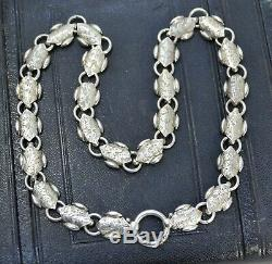 Antique Victorian SOLID SILVER Engraved Unusual Collar BOOK CHAIN Necklace