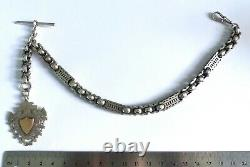 Antique Victorian Silver Fancy Linked Watch Chain With T-bar Albert & Shield Fob