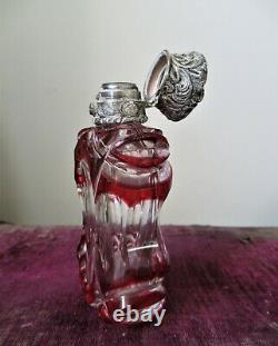 Antique Victorian Silver & Glass Overlay Perfume Scent Bottle Red