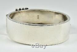 Antique Victorian Solid Silver Aesthetic Hinged Buckle Bracelet, (B'ham, 1884)