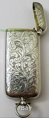 Antique Victorian Solid Silver Albert Chain Sovereign Coin & Vesta Case 1899