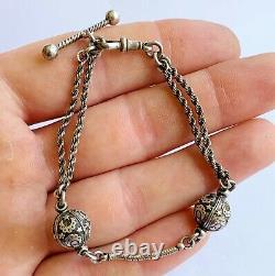 Antique Victorian Solid Silver Albertina Bracelet Fob Charm Bracelet Moon & Star