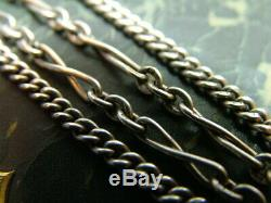 Antique Victorian Solid Silver Albertina Watch Chain With Tassels