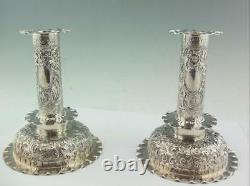 Antique Victorian Solid Silver Candlesticks Hukin & Heath