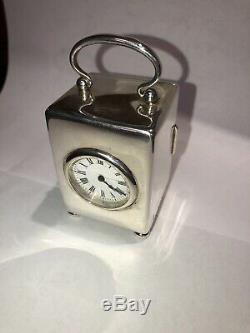 Antique Victorian Solid Silver Carriage Clock By William Comyns