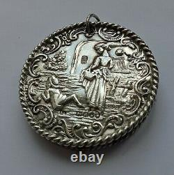 Antique Victorian Solid Silver Chatelaine Pin Cushion, London 1899