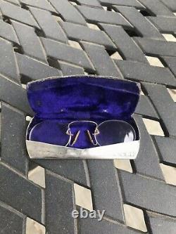 Antique Victorian Solid Silver Chatelaine Spectacle Case Box & 9ct Gold Eyeglass