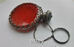 Antique Victorian Solid Silver Cranberry Glass Chatelaine Scentbottle Circa1880