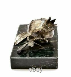 Antique Victorian Solid Silver Pomegranate Marble Paperweight Paper Weight