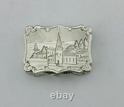 Antique Victorian Solid Silver Vinaigrette Engraved Scene Nathaniel Mills