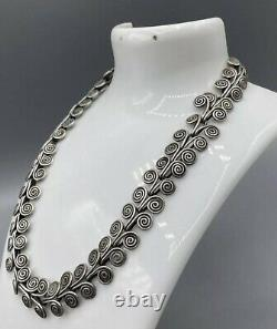 Antique Victorian Solid Sterling Silver Decorative Swirl Necklace choker 54g