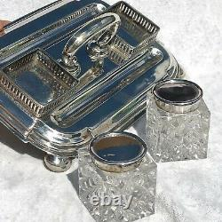 Antique Victorian Sterling Hm 1890 Inkwell Desk Set Josiah Williams 370g Silver