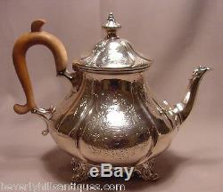 Antique Victorian Sterling Silver 3 pc Tea Set William Hunter London 1860 44oz
