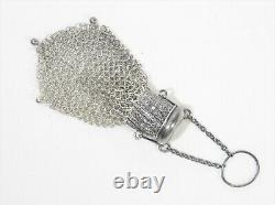 Antique Victorian Sterling Silver Accordion Coin Chatelaine Purse