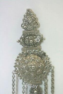 Antique Victorian Sterling Silver Chatelaine Sewing Multiple Piece Emerald Stone