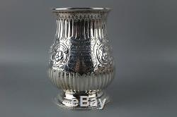 Antique Victorian Sterling Silver Embossed 1 Pint Tankard Hallmarked 1870 300g