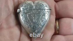 Antique Victorian Sterling Silver Heart Vesta Case 1897