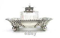 Antique Victorian Sterling Silver Ink Well Desk Stand Standish Four Footed