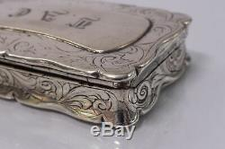 Antique Victorian Sterling Silver Nathaniel Mills Snuff Box 1851