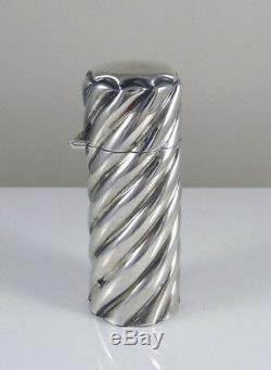 Antique Victorian Sterling Silver Perfume Bottle Spiral Design Hallmarked 1891