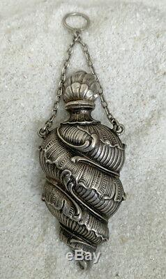 Antique Victorian Sterling Silver Perfume Scent Bottle Vinaigrette Chatelaine