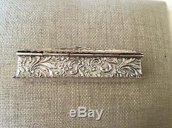 Antique Victorian Sterling Silver Ring Box Two Slots 1899