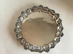 Antique Victorian Sterling Silver Salver Tray S. Smily 1875 8 Inches