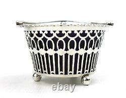 Antique Victorian Sterling Silver Sugar Basket Bowl Swing Handle Pierced 1900