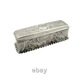 Antique Victorian Sterling Silver Trinket Box 1898