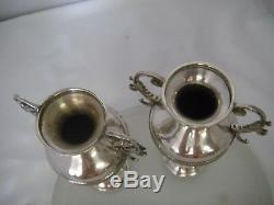 Antique Victorian Sterling Silver Vase pair William Comyns Rowland Frazer London