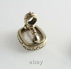 Antique Victorian Watch chain intaglio seal fob PROVERBS