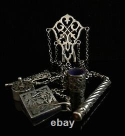 Antique Victorian silver chatelaine, sewing tools