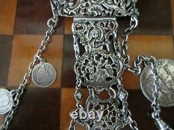 Antique Victorian silver chatelaine, sewing tools plus extras