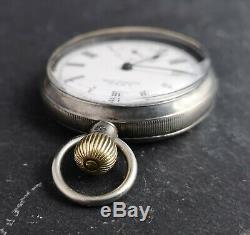 Antique Victorian sterling silver Waltham pocket watch, working