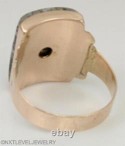 Antique c1900 Victorian RARE Silver in Quartz 14k Solid Rose Gold Men's Ring