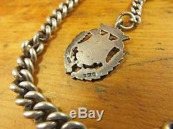 Antique chunky Victorian sterling silver Albert Chain T bar and fob 14 63g
