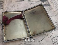 Antique silver cigarette case, Musical staves, Victorian sterling silver
