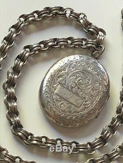 Antique vintage Victorian solid silver large engraved oval locket & chain 20g