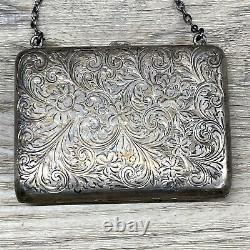 Atq Victorian Sterling Silver Lined Coin Purse Monogrammed
