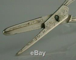 BEAUTIFUL FRENCH SOLID STERLING SILVER SCISSORS or GRAPE SHEARS 1895 VICTORIAN