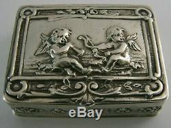 BEAUTIFUL GERMAN 800 SOLID SILVER CHERUB SNUFF or PILL BOX c1900 ANTIQUE