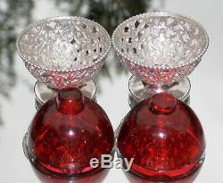 BEAUTIFUL PAIR VICTORIAN George Angell SOLID SILVER & CRANBERRY GLASS OPEN SALTS