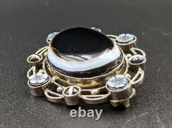 Beautiful Antique Victorian Solid Silver Banded Agate Brooch