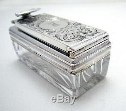 Beautiful Antique Victorian Sterling SILVER Cut Glass Travelling Inkwell Ink Box