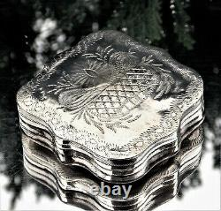 Beautiful Early Victorian Dutch Solid Silver Ornate Marriage Tobacco Box 1849