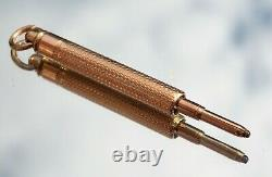 Beautiful Victorian 9ct Gold Engine Turned Propelling Pencil